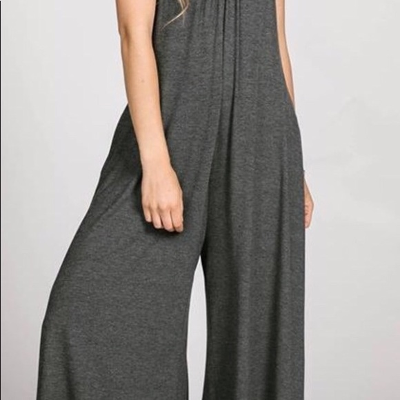 faf06bf4e898 Gathered V-Neck Jumpsuit Charcoal by Agnes   Dora